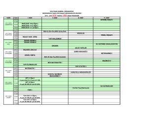 2014-2015 Eğitim Öğretim Yılı Güz Yarıyılı Vize Sınav Programı