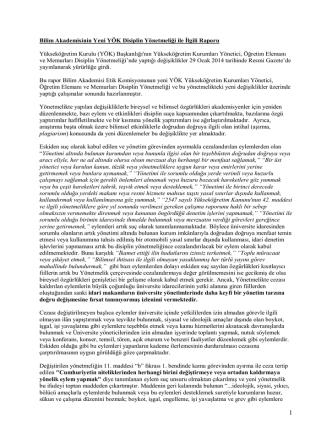 Bilim Akademisinin Yeni YÖK Disiplin Yönetmeliği ile İlgili Raporu