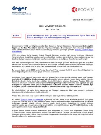 2014-76 Şirket Ortaklarının SGK İşe Giriş ve Çıkış Bildirimlerine