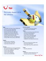 TUI Holly Award 2014: the winners