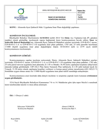 84. komisyon raporu - Ordu Büyükşehir Belediyesi