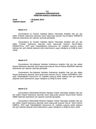 18.02.2014 Tarihli Yönetim Kurulu Kararları