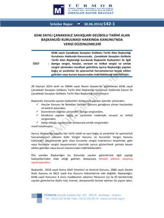 6546 Sayılı Çanakkale Savaşları Gelibolu Tarihi Alan Başkanlığı
