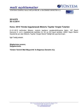 2014-075 2015 Yılında Uygulanacak Motorlu Taşıtlar Vergisi Tutarları