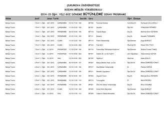 2014-15 Güz Dönemi Bütünleme Sınav Programı (Pdf)