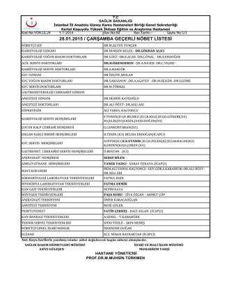 28.01.2015 / çarşamba geçerli nöbet listesi