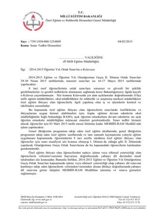 1-Bakanlık Yazısı - Diyarbakır İl Milli Eğitim Müdürlüğü