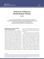 """Türkiye`nin """"Kalkınmacı Merkez Bankası"""" İhtiyacı"""
