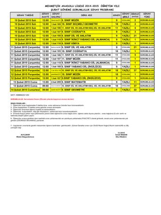 10 Şubat 2015 Salı 12:00 Zemin kat Z11 9. SINIF MÜZİK 9 2 10