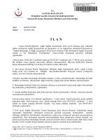 İ L A N - Samsun İli Kamu Hastaneleri Birliği Genel Sekreterliği
