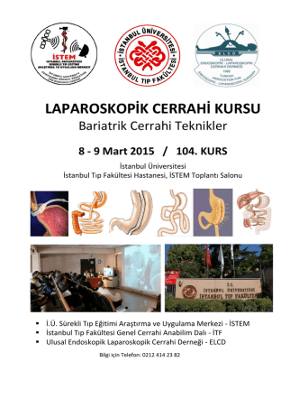 Bariatrik Cerrahi KURS PROGRAMI. 8-9 Mart 2015