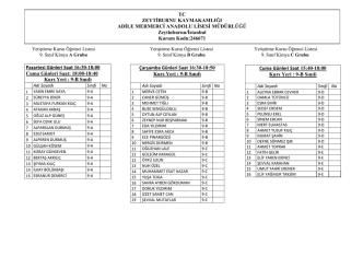 9-B Sınıfı Çarşamba Günleri Saat 16:30-18
