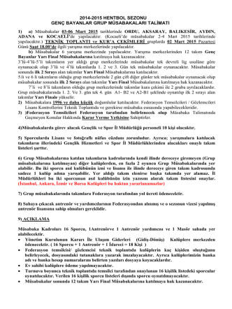 2014-2015 HENTBOL SEZONU GENÇ BAYANLAR GRUP
