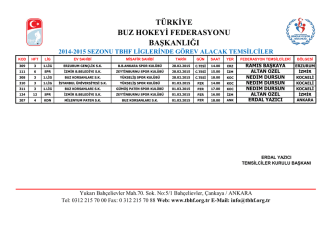 başkanlığı 2014-2015 sezonu tbhf liglerinde görev alacak temsilciler