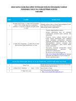 Kura Takvimi - Bingöl Kamu Hastaneleri Birliği Genel Sekreterliği