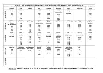 2014 - 2015 bahar yarıyılı vize sınav takvimi