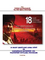 18 mart şehitleri anma günü ve çanakkale zaferinin 100. yıldönümü