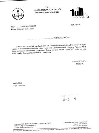 30/03/2015 Tarihli Yazılar - Pasinler İlçe Milli Eğitim Müdürlüğü