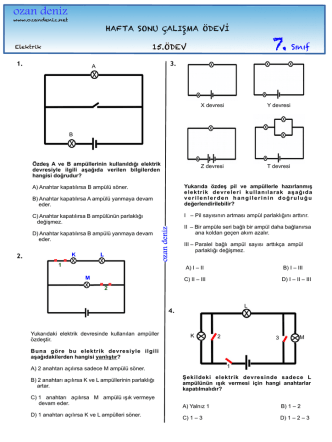 7. Sınıf 15. Haftasonu Çalışma Ödevi