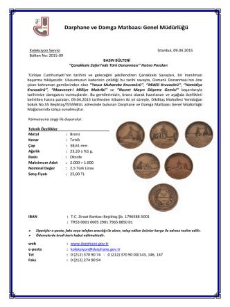 Çanakkale Zaferi`nde Türk Donanması Hatıra Paraları Basın Bülteni