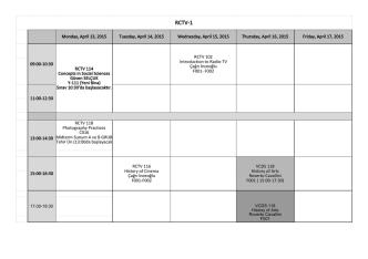 2014-2015 Bahar Dönemi ara sınav programı (midterm exams)