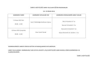 21-22 Nisan 2015 - İzmir Müftülüğü