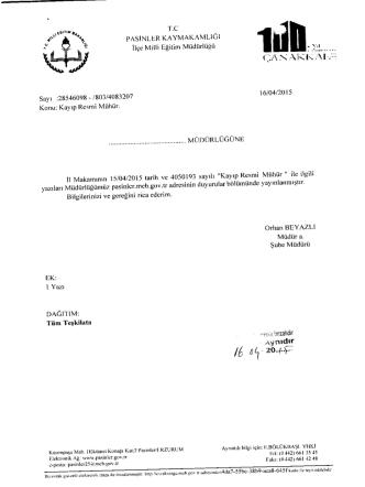 16/04/2015 Tarihli Yazılar - Pasinler İlçe Milli Eğitim Müdürlüğü