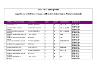 2014-2015 Spring Term Department of Political Science and Public