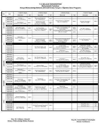 2014-2015 Yılı Bahar Dönemi Ders Programı (I.Ö)