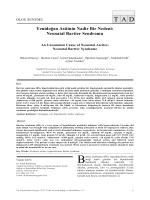 Neonatal Bartter Sendromu - Tıp Araştırmaları Dergisi