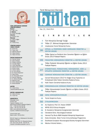 Bülten No 32 - Ocak 2014 - Türk Nöroşirürji Derneği
