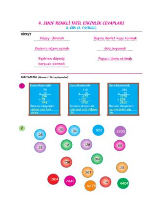 4. sınıf renkli tatil etkinlik cevapları
