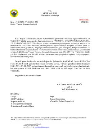306-Iğdır İl Dernekler Müdürlüğünün 03/02/2014 tarih ve 759 sayılı