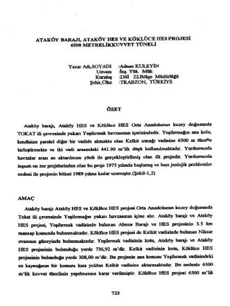 Ataköy Barajı, Ataköy HES ve Köklüce HES Projesi 6500 Metrelik