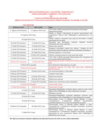 Akademik Takvim - Zirve Üniversitesi