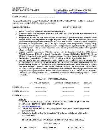 Alınan Kararlar(PDF) - SS Beray Yuva Konut Yapı Kooperatifi