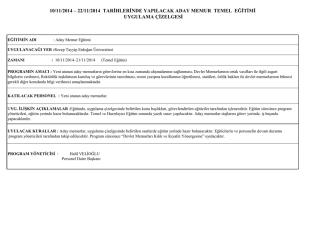 10/11/2014 – 22/11/2014 tarġhlerġnde yapılacak aday memur temel