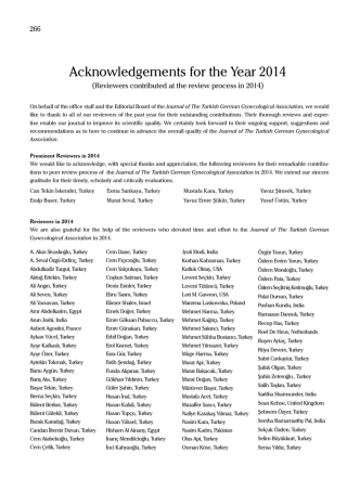 Acknowledgements for the Year 2014