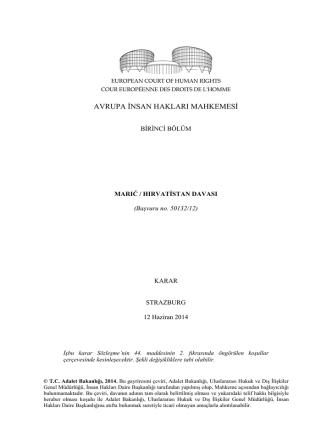 12 Haziran 2014 tarihinde yayınlanan Maric v. Hırvatistan kararı için