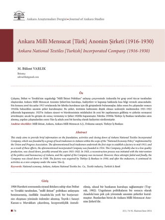 Ankara Millî Mensucat [Türk] Anonim Şirketi (1916-1930)