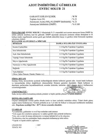 Aon İNHİBİTÖRLÜ GÜBRELER ENTEC soLUB 21