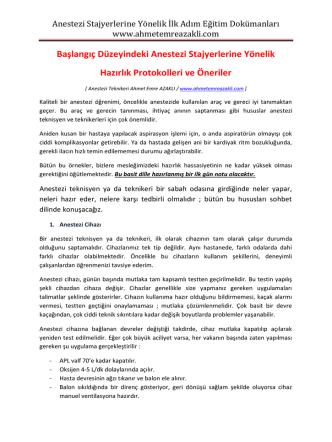 Anestezi Stajyerlerine Yönelik İlk Adım Eğitim Dokümanları www