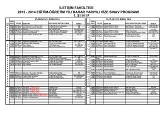 2013-2014 güz-vize sınav programı örgün 1.sınıf
