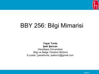 BBY 256: Bilgi Mimarisi