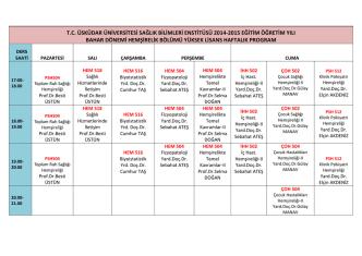 2014-2015 bahar yarıyılı hemşirelik ders programı
