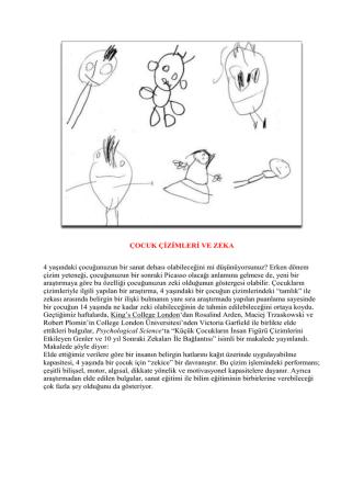 ÇOCUK ÇİZİMLERİ VE ZEKA 4 yaşındaki çocuğunuzun bir sanat