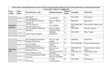 2013-2014 Bahar Vize Sınav Programı