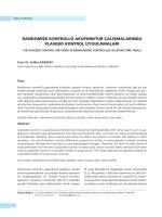 randomize kontrollü akupunktur çalışmalarında plasebo kontrol