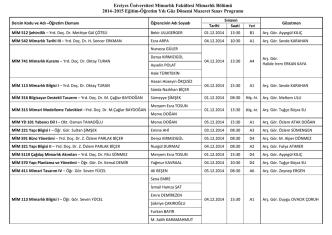 2014-2015 Güze Dönemi Mazeret Sınav Programı