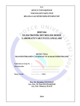 BMT104_06_Deney_6 - Düzce Üniversitesi Bilgisayar Mühendisliği